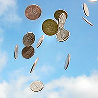 coins in the air